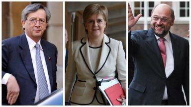 Meetings: Jean-Claude Juncker, left, Nicola Sturgeon and Martin Schulz.