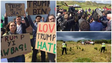 Trump: Protesters target presidential hopeful's visit.