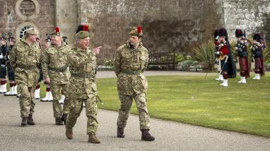 Fort George: Black Watch troops during visit by the Duke of Rothesay (file pic).