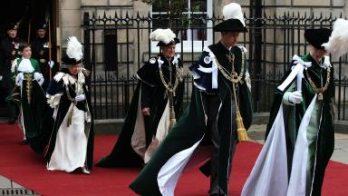 Arrival: The Queen, Duke of Edinburgh, the Duke of Cambridge and the Princess Royal arrive for the service.