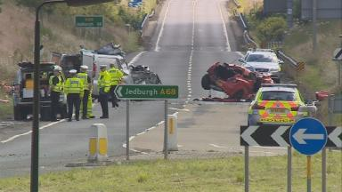 Crash: The scene of Friday morning's fatal collision on A68, July 8