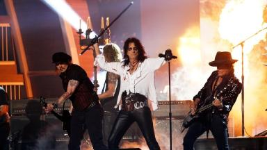 Joe Perry (right) pictured with the rest of Hollywood Vampires