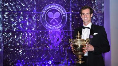 Andy Murray with the Wimbledon trophy.
