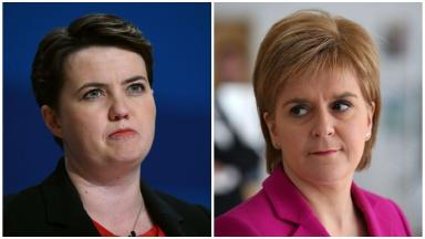 Row: Conservative leader Ruth Davidson said the survey launched by Nicola Sturgeon had no SNP 'imprint'.