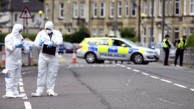 Scene: Forensic officers at scene of shooting in Govan.