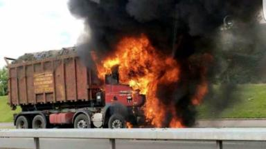 Ablaze: The lorry driver escaped without injury.