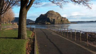 Lottery: The Dumbarton Rock is a iconic landmark in Levengrove Park.