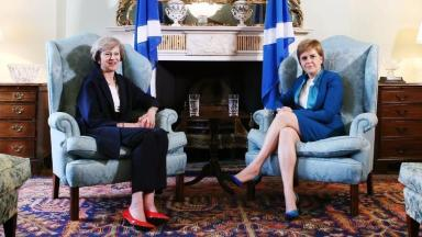 Leaders: Theresa May meeting Nicola Sturgeon after becoming PM.