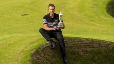 Champion: Henrik Stenson grabbed the glory in Troon.