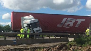 Incident: The jackknifed lorry on the M8.