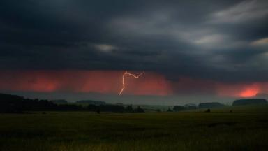 Lightning: The storms were pictured from the Cairn O'Mount, Aberdeenshire.