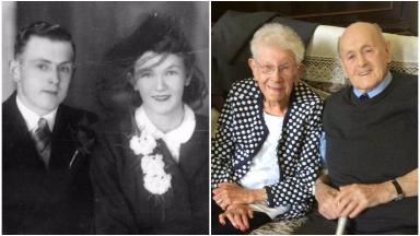Hugh 'Denny' Ross and Meg Ross on wedding day in 1946 and platinum anniversary in 2016.