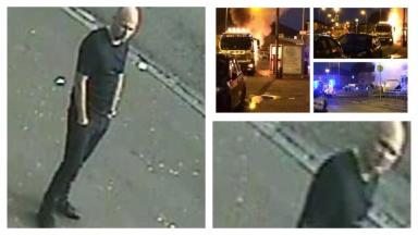 CCTV: Police want to speak to man after stabbing and petrol bomb attack.