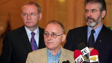 Murdered: Denis Donaldson with Martin McGuinness and Gerry Adams.