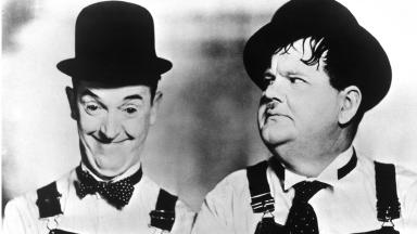 Plaque: Stan Laurel (left) will be commemorated in Glasgow.