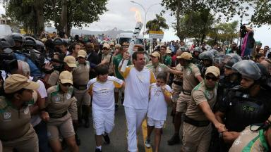 The heavily-guarded torch relay was delayed by the protest