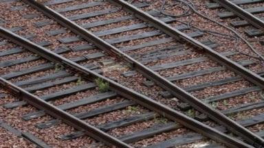 An archive photograph of railway tracks.
