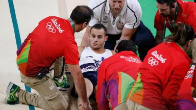 Medics rushed to Samir Ait Said after he snapped his leg performing the vault
