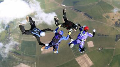 Undated handout photo of skydivers.