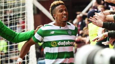Scott Sinclair: Celtic player celebrates his goal.