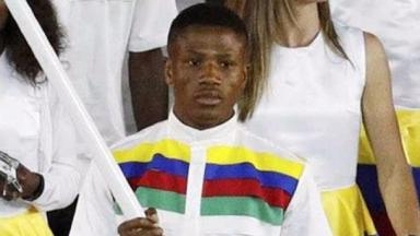 Jonas Junius was Namibia's flagbearer at the Opening Ceremony.
