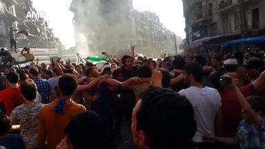 Rebels celebrated this weekend after breaking a siege in the city of Aleppo