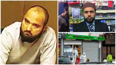 Murder: Tanveer Ahmed, left, stabbed Asad Shah to death in his shop.
