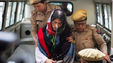 Irom Sharmila had been force-fed in hospital for 16 years.