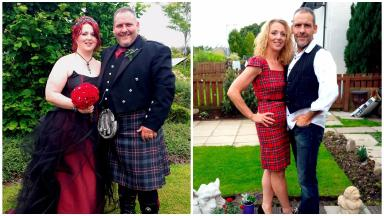 Transformation: Louise and Mark Hannigan before and after their weight loss.