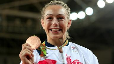 Triumph: Sally Conway shows off Olympic bronze medal in Rio.