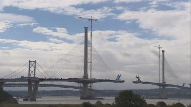 Connected: The Queensferry crossing is now linked to land at Fife.