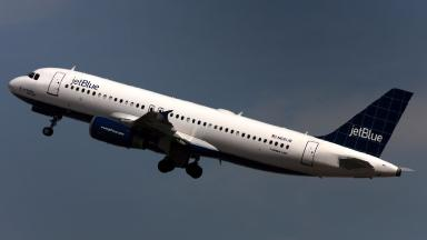 The jetBlue flight hit turbulence on Thursday evening.