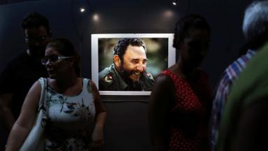 A picture of former President Fidel Castro during the opening of the exhibition.