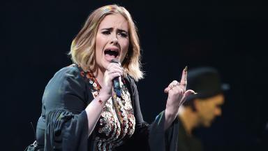 Adele onstage at Glastonbury.