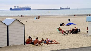 Holidaymakers at Boulogne beach in northern France