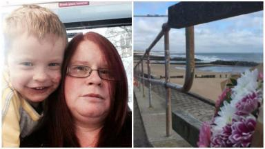 Julie Walker and Lucas Walker collage with floral tribute at Aberdeen beach. August 21 2016
