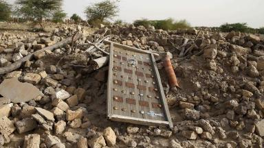 The rubble left from an ancient mausoleum destroyed in Timbuktu.