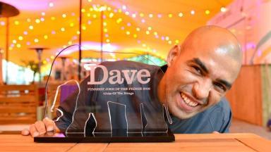 Comedian Masai Graham wins the Dave Funniest Joke of the Fringe 2016 award in Edinburgh.