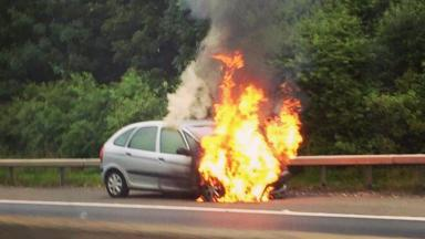 Alight: The eastbound carriageway of the bypass was closed to put out the fire.