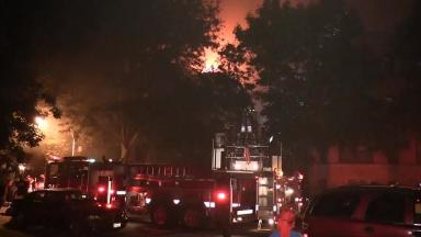 Around 200 firefighters battled the flames.