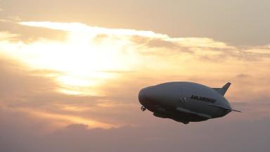 The Airlander 10, the largest aircraft in the world, during its maiden flight.