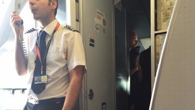 The captain explained to passengers why their flight was delayed