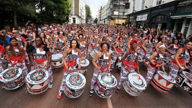 Samba drumming band Batala perform in the Monday parade