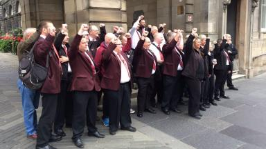 Protest: Lothian Buses employees gathered at the city chambers on Tuesday.