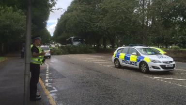 Closure: Police are at the scene on Queensferry Road.
