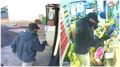 CCTV: Images show the robber in the Mini Market, Tranent.