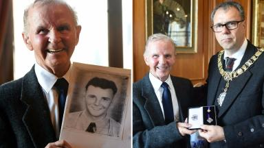 Remembered: Roy Clark with a picture of his brother Archie, and accepting the medal from Lord Provost Donald Wilson.