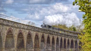 The Flying Scotsman crossing Newbattle Viaduct. Not for re-use.