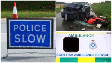 Collision: The car and motorcycle collided in Aberdeenshire.