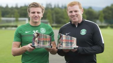 Double prize: Neil Lennon and Jason Cummings have been rewarded for their form in August.
